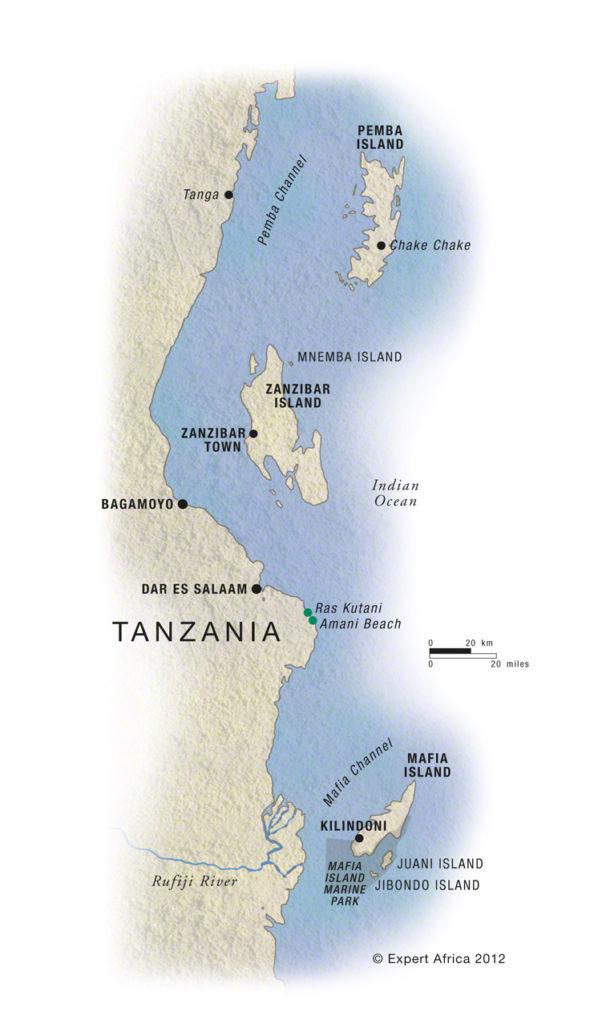Zanzibar, mappa dell'aricpelago