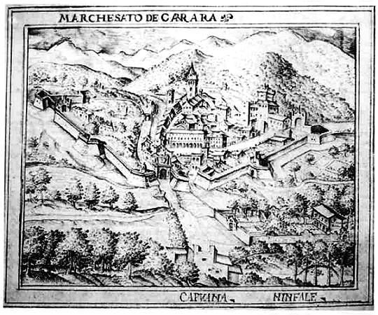 Carrara, il territorio un disegno del 1600