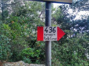Punta Corvo, cartello sentiero