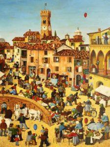 Santarcangelo di Romagna, rappresentazione della fiera di San Martino delpittore Giuseppe Boschetti