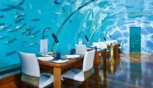 Hotel sommersi, ristornate subacqueo al Conrad Maldives Ramgali Island