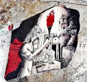 Casoli paese dei graffiti, angelo dalle ali rosse