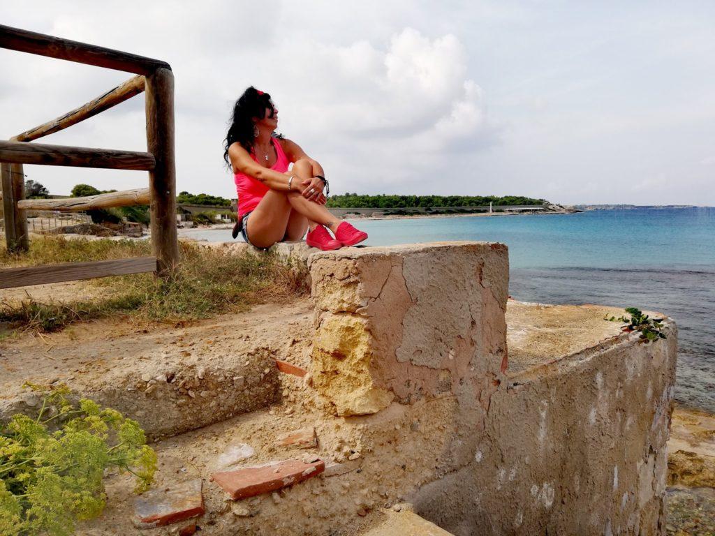Io che ammiro estasiata il mare che circonda l'isola di Pianosa