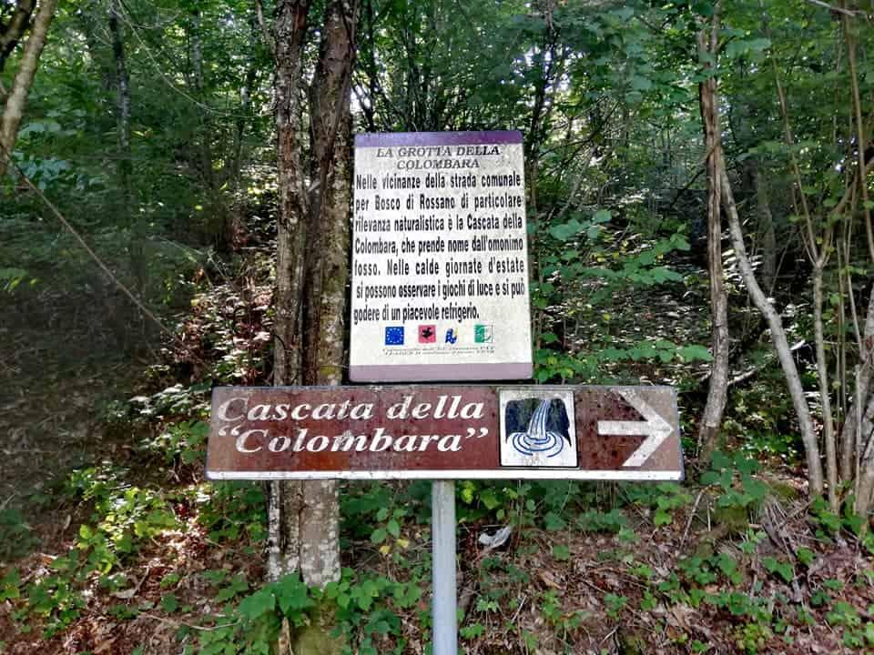 Indicazioni per la cascata della Colombara