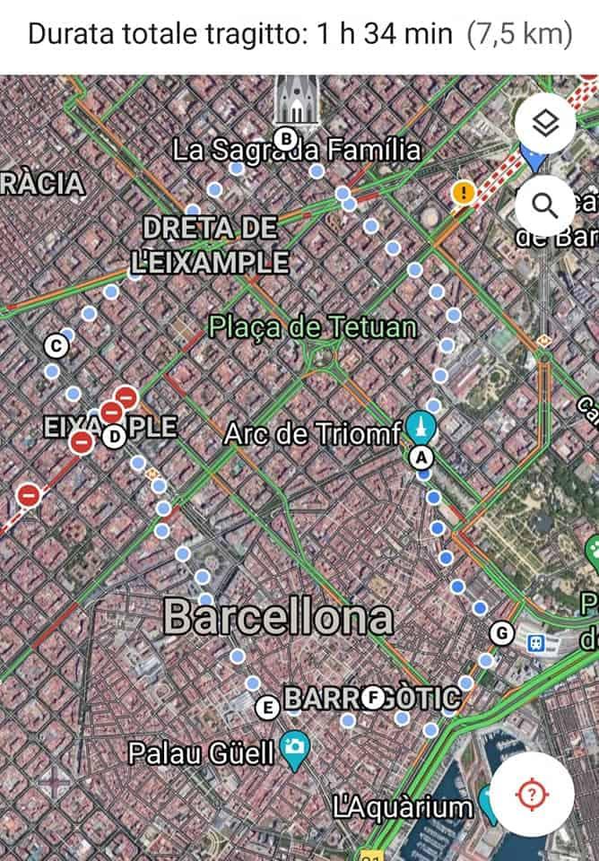 esempio di come creare itinerario turistico con Maps
