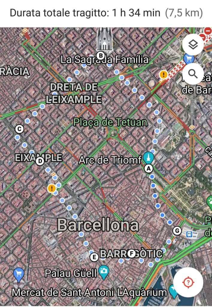 Mappa del mio itinerario Cosa vedere a Barcellona in 1 giorno