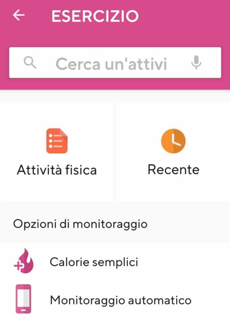 App per dimagrire Lifesum, inserire attività fisica