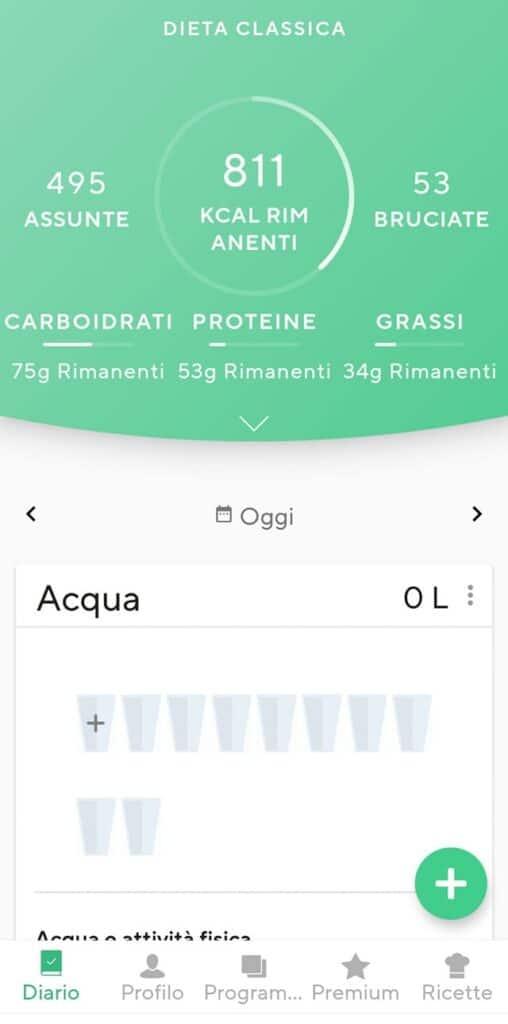 App per dimagrire Lifesum, esempio conteggio calorie